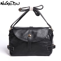 NIGEDU Brand Genuine Leather Women Messenger Bags Vintage Soft Cowhide Shoulder Crossbody Bag Mother Gifts Handbags