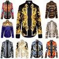 Moda de nova Onda De Homens da Cópia Floral Mistura Cor Luxo Harajuku Camisas Casuais Longo-manga Patchwork dos homens Medusa camisas