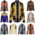 New Fashion Wave Of Men Floral Print Colour Mixture Luxury Casual Harajuku Shirts Long-sleeved Patchwork Men's Medusa Shirts