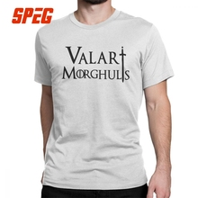 Game Of Thrones Man T Shirt Valar Morghulis Arya Stark Novelty Short Sleeves Tees O Neck Tops Cotton Plus Size T-Shirt game over pattern cotton short sleeves t shirt for men white size xxxl