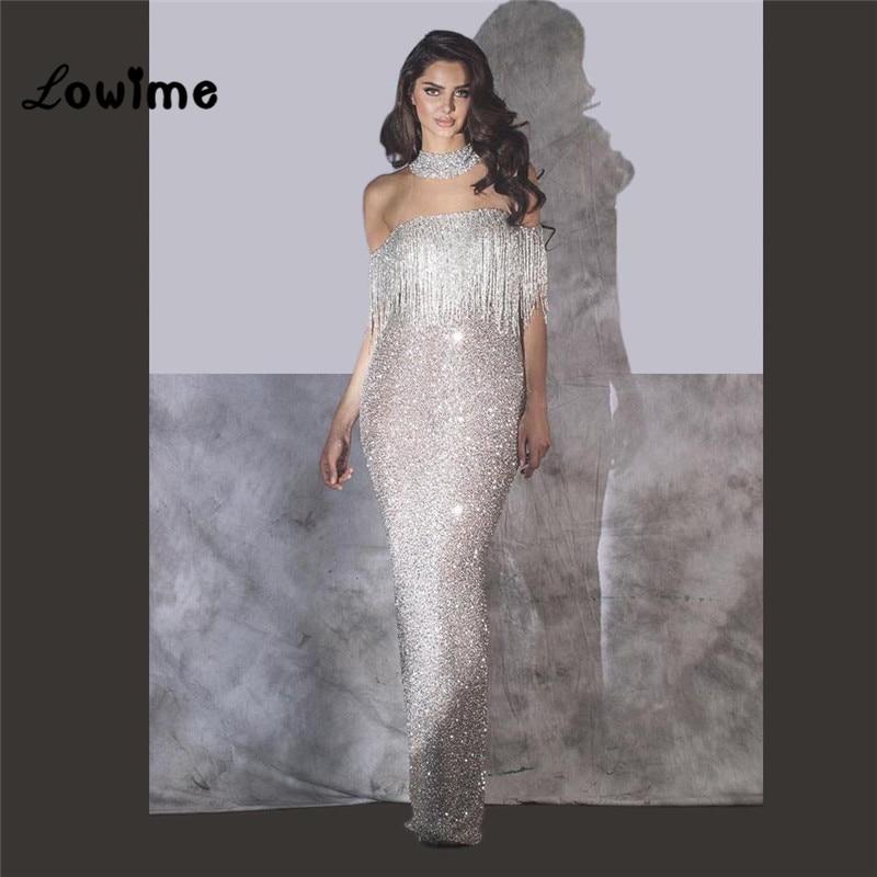 Dubaï saoudien arabe paillettes perles robe De soirée Vestido De Festa Longo 2018 robe formelle longueur De plancher femmes robes De bal