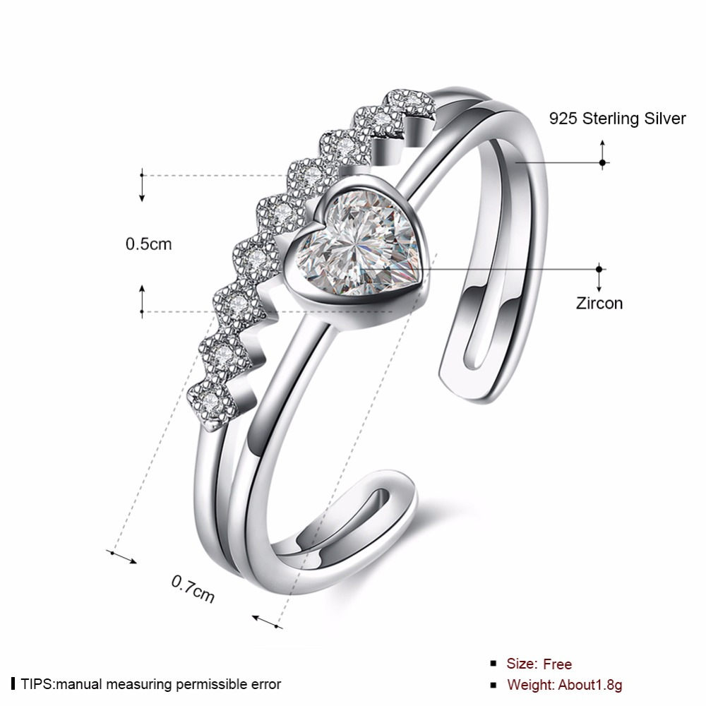 925 Sterling Silver Adjustable Love Heart Ring