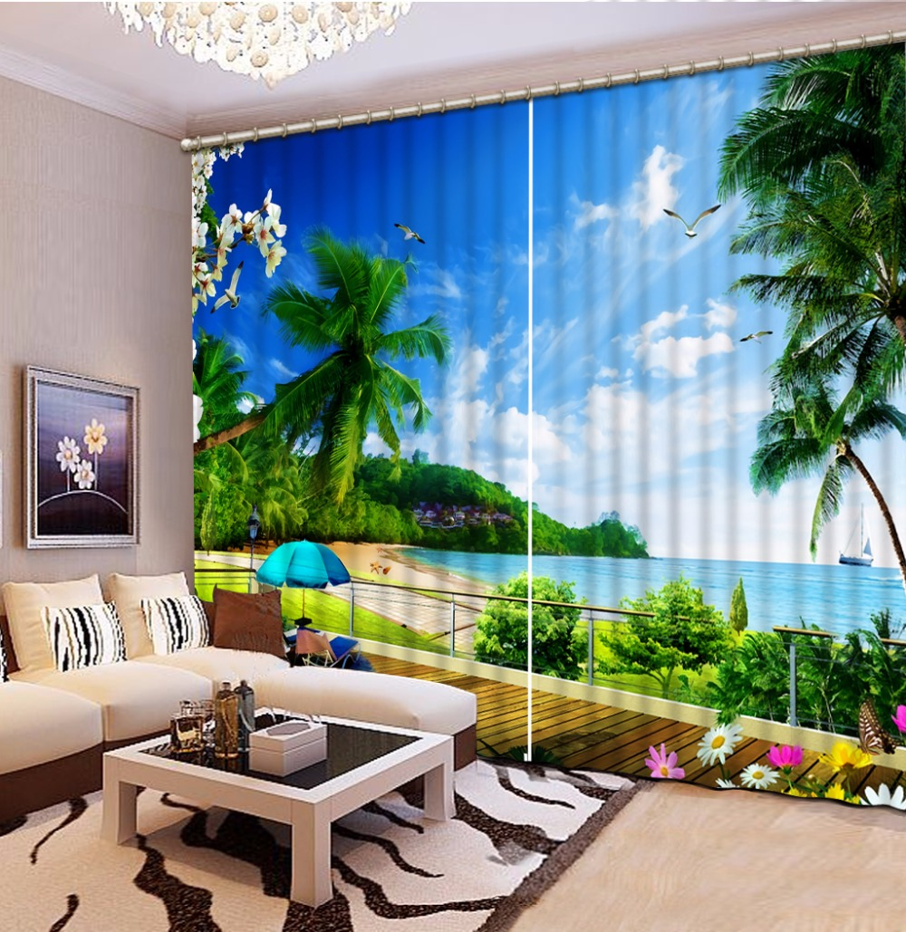 Beautiful HD Nature Landscape Curtains 3D Living room Bedroom Curtain Painting Drapes For Window ...