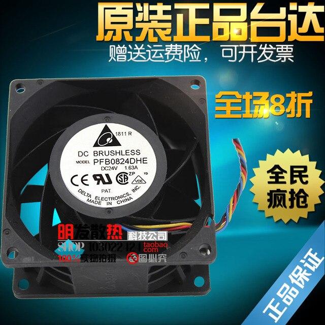 Original 24 V 8 cm 1.63A PFB0824DHE PWM de quatro fios de grande volume de ar do ventilador do inversor