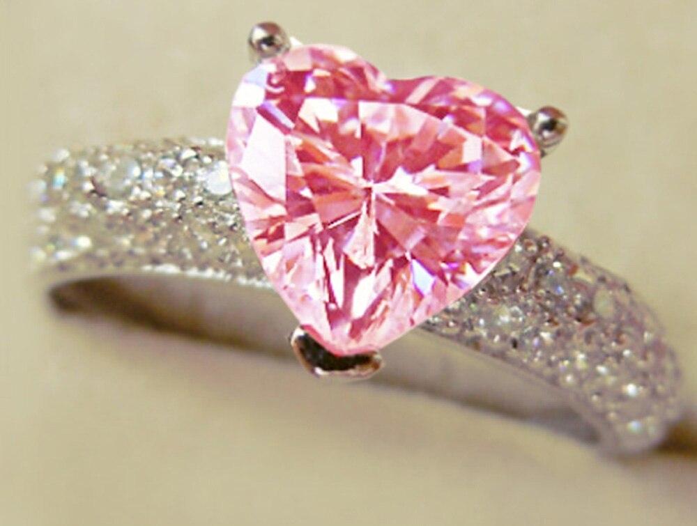 YaYI Модные женские ювелирные изделия кольцо сердце розовый циркон CZ серебряный цвет обручальные кольца Свадебные Кольца вечерние кольца