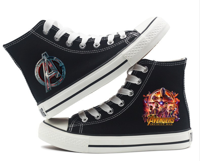 Men's Vulcanize Shoes Marvel Captain America Thor Hulk Spider-man Printed Fashion High-top High-heeled Breathable Canvas Sneakers A193291 Available In Various Designs And Specifications For Your Selection
