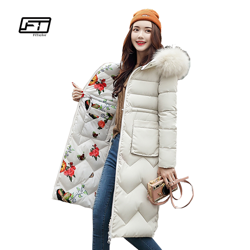 Fitaylor Winter Medium Long Cotton Outerwear Women Double Sided Mixed Color   Parkas   Warm Overcoat Two-sided Flower Print Jacket