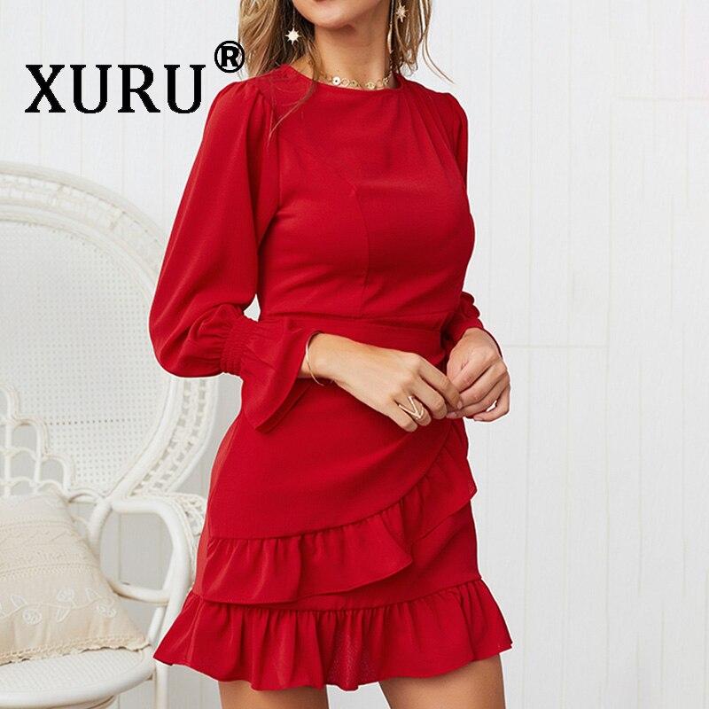 XURU летнее Новое лучшее женское сексуальное платье модное повседневное необычное сексуальное платье с оборками и круглым вырезом платье с д...