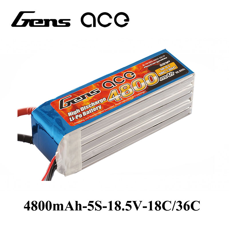 все цены на Gens ace Lipo Battery 18.5V 4800mAh Lipo 5S Battery Pack 18C/36C Battery for F3A Competition RC Helicopter Airplane Boat онлайн