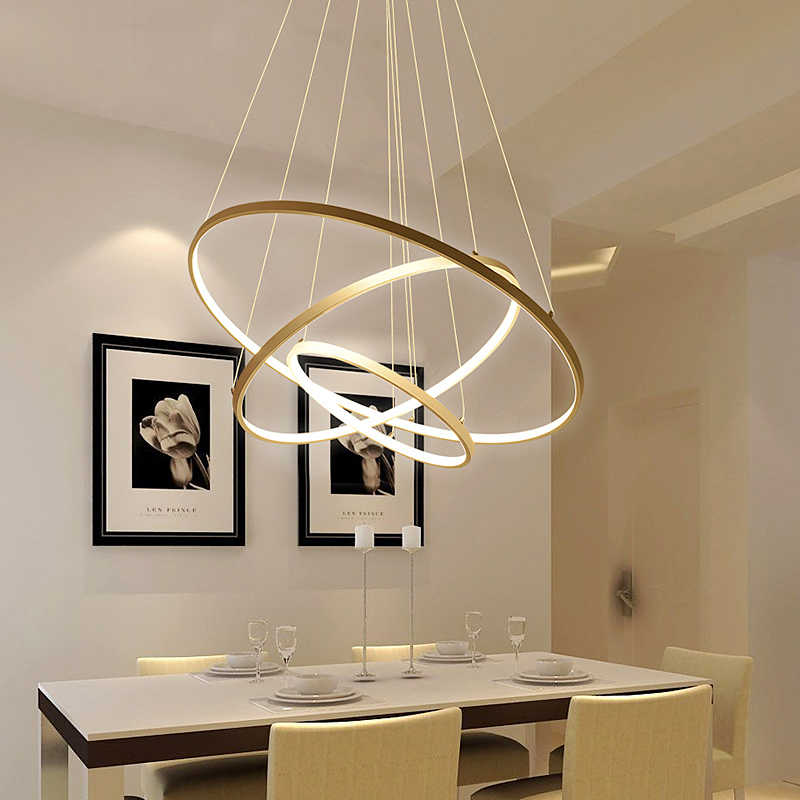 LED Gold Three Circle Pendant Light for Living Room luminaires Office Lamp lanterns Hanging Ceiling Lamps Lamparas Colgantes