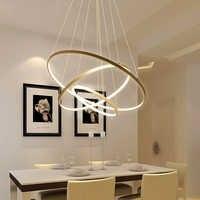 LED Gold Three Circle Pendant Light for Living Room luminaires Office Lamp lanterns Hanging Ceiling Lamps Lamparas Colgantes
