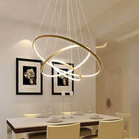 LED or trois cercle pendentif lumière pour salon luminaires bureau lampe lanternes suspendus plafonniers lampara Colgantes