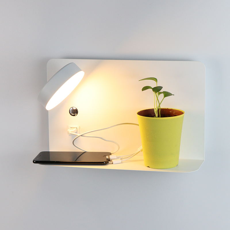 Bedroom Bedside Wall Light LED Wall Lamp With Switch With 5V 2.1A USB Charging Interface Color Temperature Adjustment AC220V