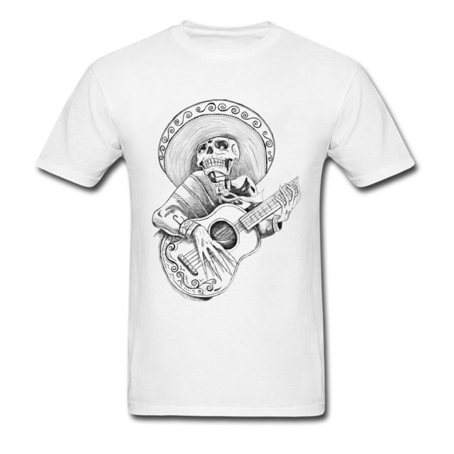 Men's Skeleton with Guitar Printed Mexican T-Shirt
