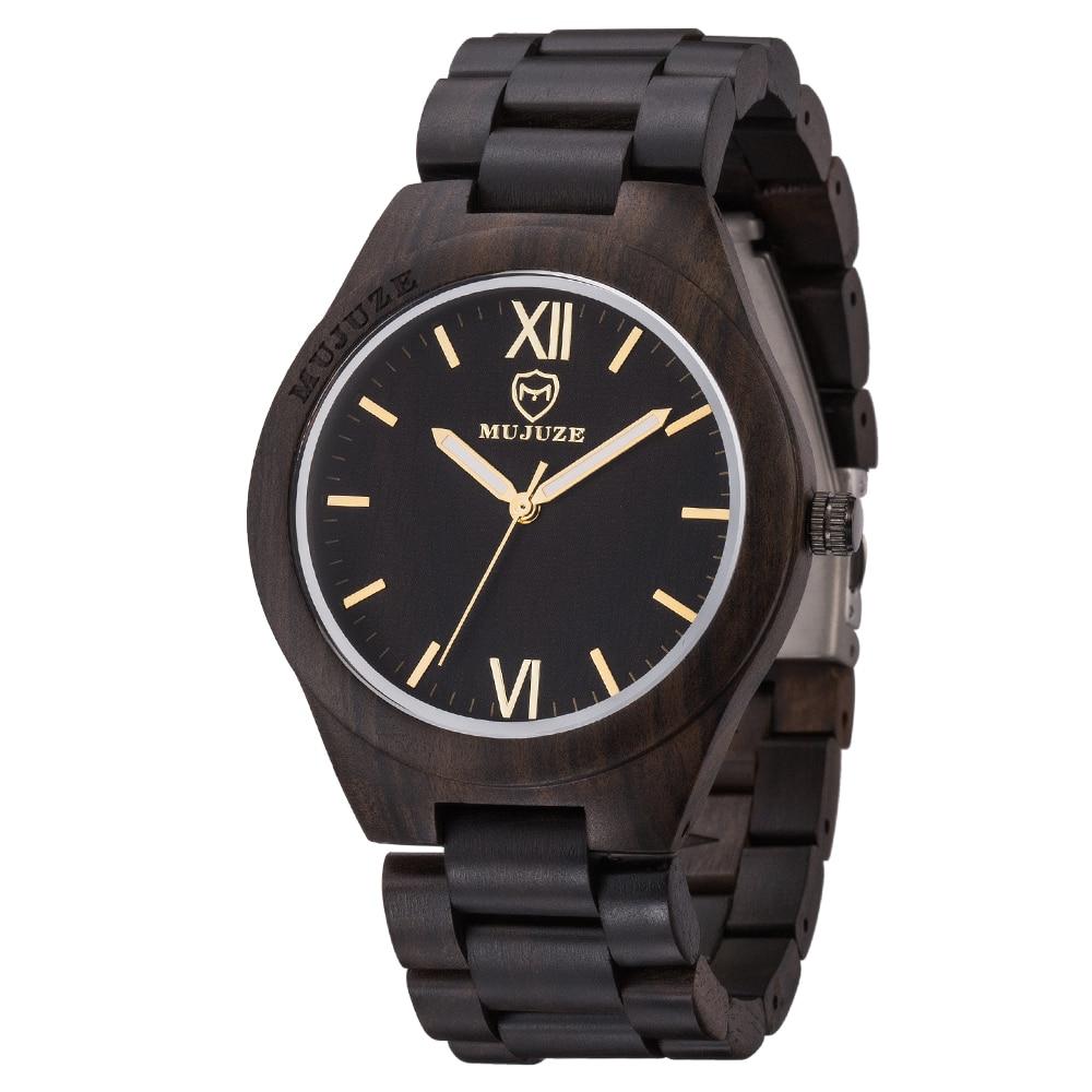 Montre-bracelet en bois de marque de luxe montres en bois pour hommes uniques montre en bois de santal noir de mode pour hommes horloge saat reloj hombre relogio