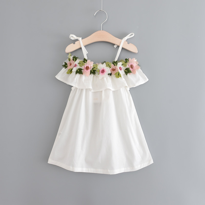Summer girls beach dress sweet embroidered strap