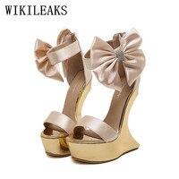 Silk Satin Super High Heels Women Designer Shoes Strange Style Ladies Bowknot Wedding Shoes Bridal Stiletto