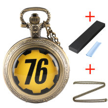 Fallout 76 Vault 111 Electronic Games Quartz Pocket Watch Gifts Sets with Bronze Pendant Chain Necklace Bags Boxes Cleaner Cloth(China)