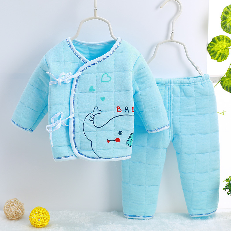 Hot sale Long Sleeve Warm Cartoon adorable Babys Sets cotton Girls Boys Clothes Blue Yellow N601-N606