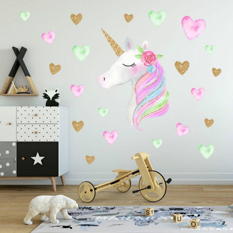 Pretty Star Heart Unicorns Wall Stickers Cartoon Wallpaper