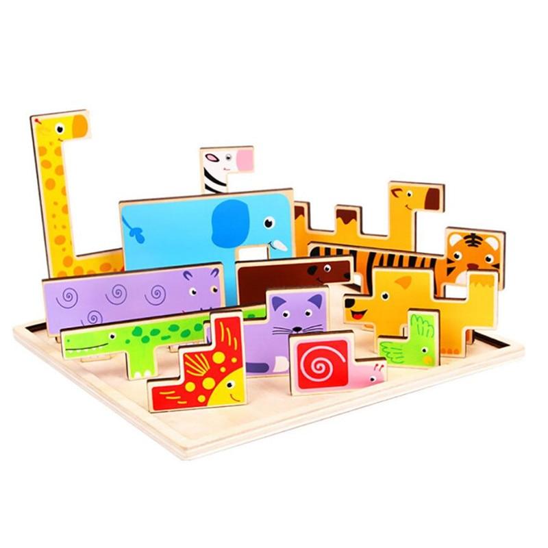 New Baby Wooden Tangram Brain Teaser Jigsaw giraffe Animals Block Toys Tetris Game Kids Children Educational Toys Set Gifts #35