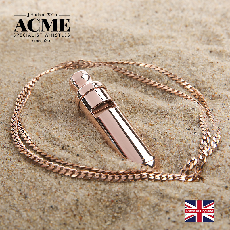 ACME CITY47 laser engraving Italian solid brass fashion necklace whistle 130 decibel survival whistle stainless steel