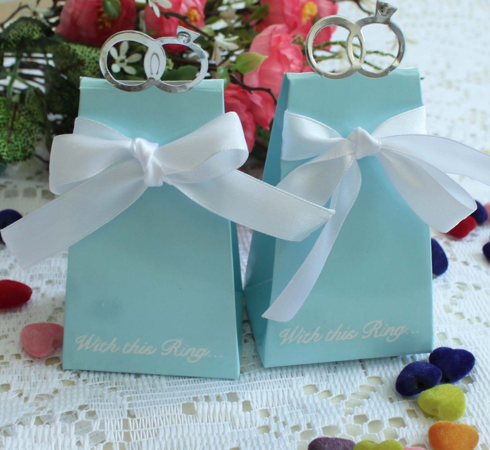 100 Pcs New Arrival Blue Clear Diamond Ring Style Wedding Favor