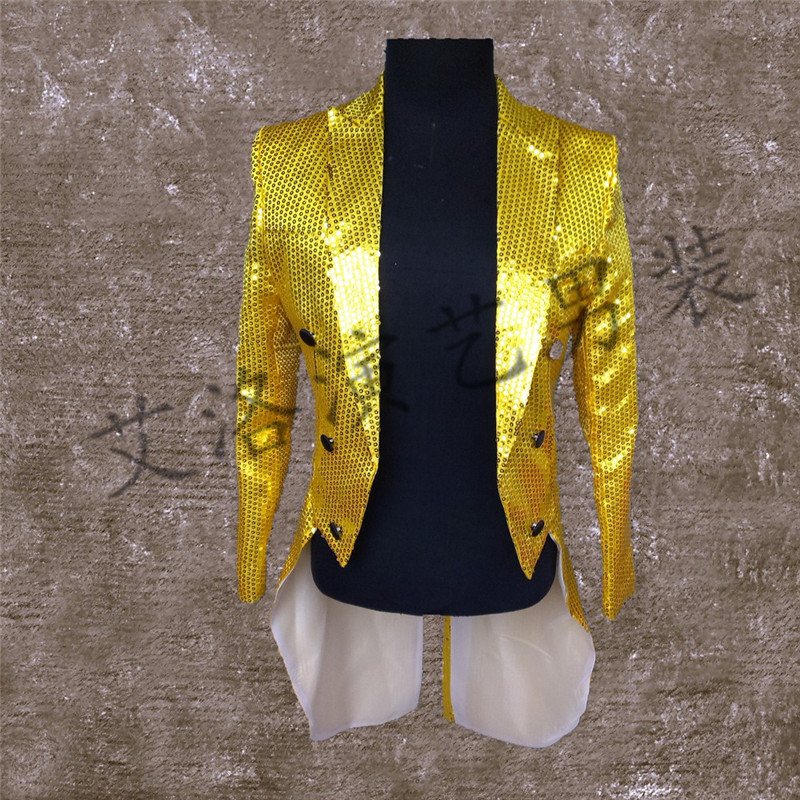 Men's master of ceremonies camera photography studio chorus stage costumes glittering sequined tuxedo jacket men cultivating