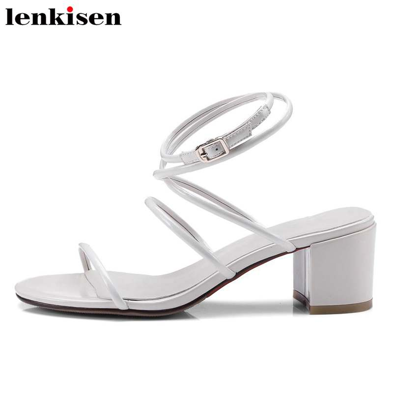 Lenkisen popular gladiator meatal buckle strap solid cow leather causal shoes wedges med heels shopping party women sandals L80