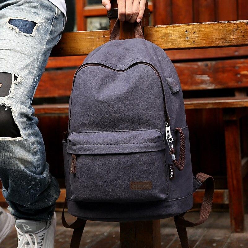 2019 Muzee nouveau sac à dos en toile Anti-vol collège étudiants école sac à dos USB charge conception sacs pour adolescent voyage sac à dos - 6