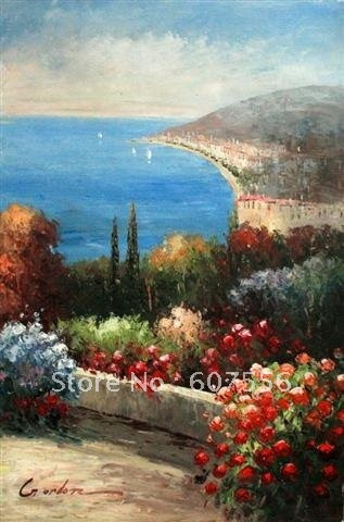 Good quality mediterranean sea home decoration modern paintings on canvas  free shipping