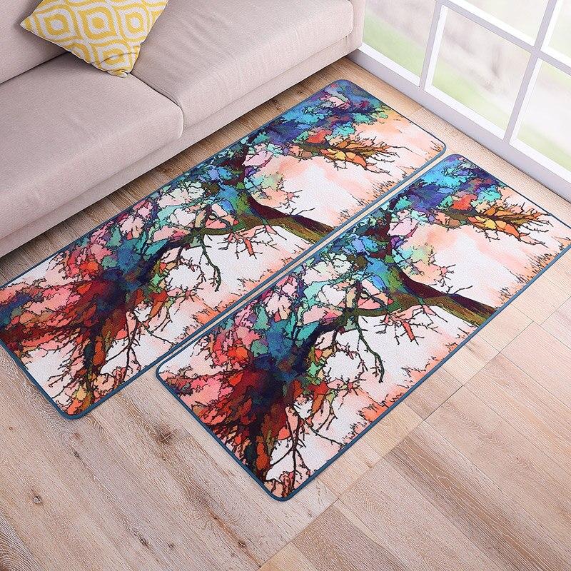 MDCT Oil Painting Colorful Tree Area Carpet Living Room Bedroom Floormats Parlor Kitchen Area Rugs Floor Door Mats Home Deco
