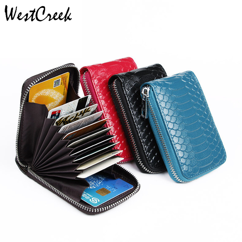 WESTCREEK Brand Designer Credit Card Case Split Leather Serpentine Pattern Organ Card Holder Casual Zipper Business Card Holder