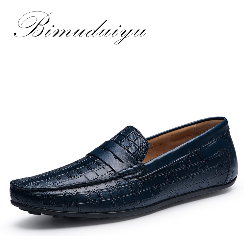 BIMUDUIYU Håndlavet Ægte læder Mænds loafers Casual Shoes Mjuk åndbar Slip On Køresko Sko Four Seasons Design