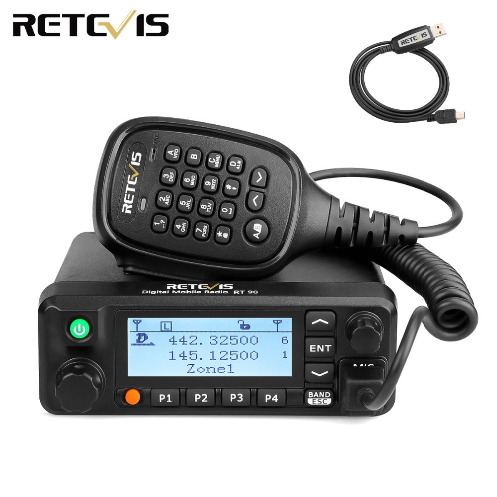 Retevis RT90 DMR Radio GPS VHF UHF Dual Band Standby Display Analog/Digital 50W Mobile Car Radio Station with Program Cable