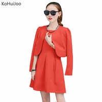 KoHuiJoo Spring Fall Women Elegant Dress Suit Lady 2 Piece Outfits Jackets And Dress Sets Blazer