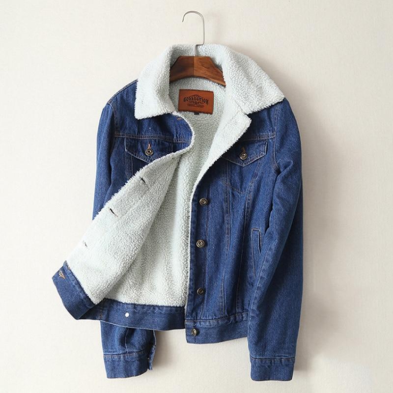 Primavera Outono Inverno 2018 Nova Mulheres lã de cordeiro Casaco de brim Com 4 Bolsos de Mangas Compridas Quente Calça Jeans Outwear Casaco Jeans Largas jaqueta
