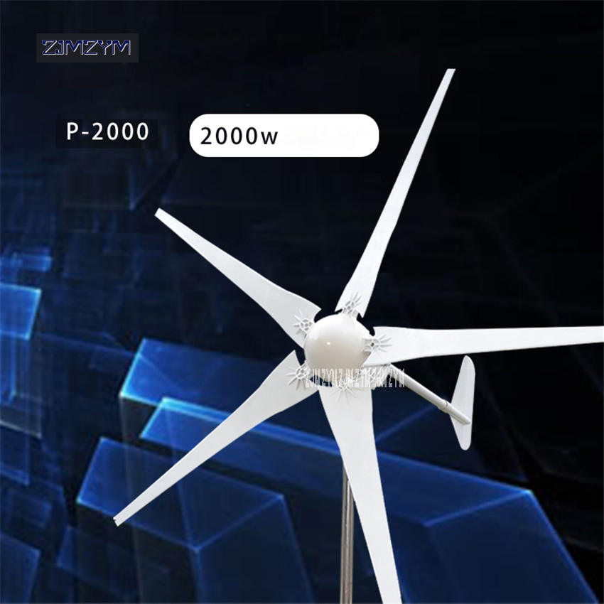 купить 2000W Wind Power Generator; Wind Turbine with 5 Blades+Wind Controller P-2000, Impeller diameter 2900mm for Land and Marine Use по цене 88328.75 рублей