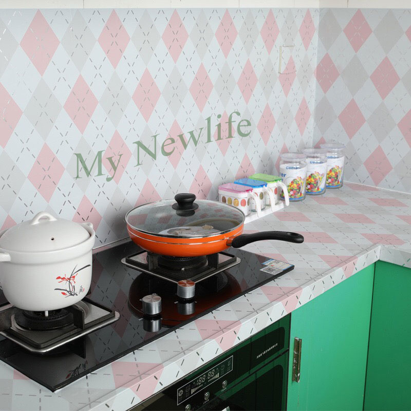 Wall Stickers High temperature Anti oil paste kitchen Self adhesive foil waterproof bathroom tile wall stickers 60x500cm in Wall Stickers from Home Garden