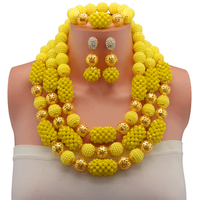 2017 New Arrival African Beads Jewelry Set Nigerian Wedding African Jewelry Sets Crystal Beads Yellow Jewelry Sets 10103