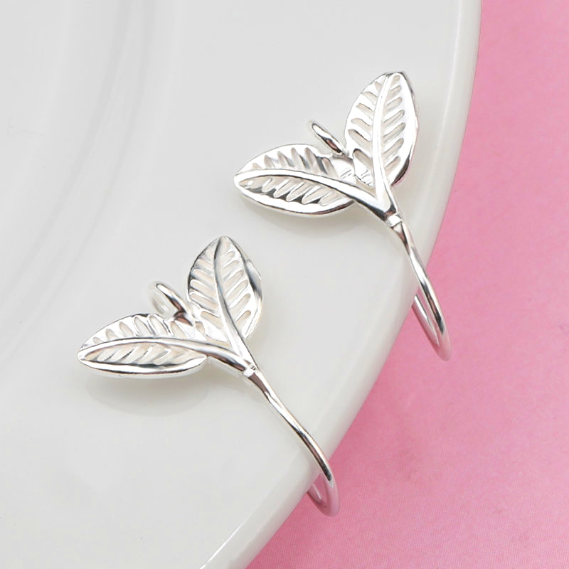 A Pair 15.5x11.8mm Silver Tree Leaf Earring Hooks 925 Sterling Silver Sprout Ear Wires Hooks For Jewelry DIY Earring Accessories