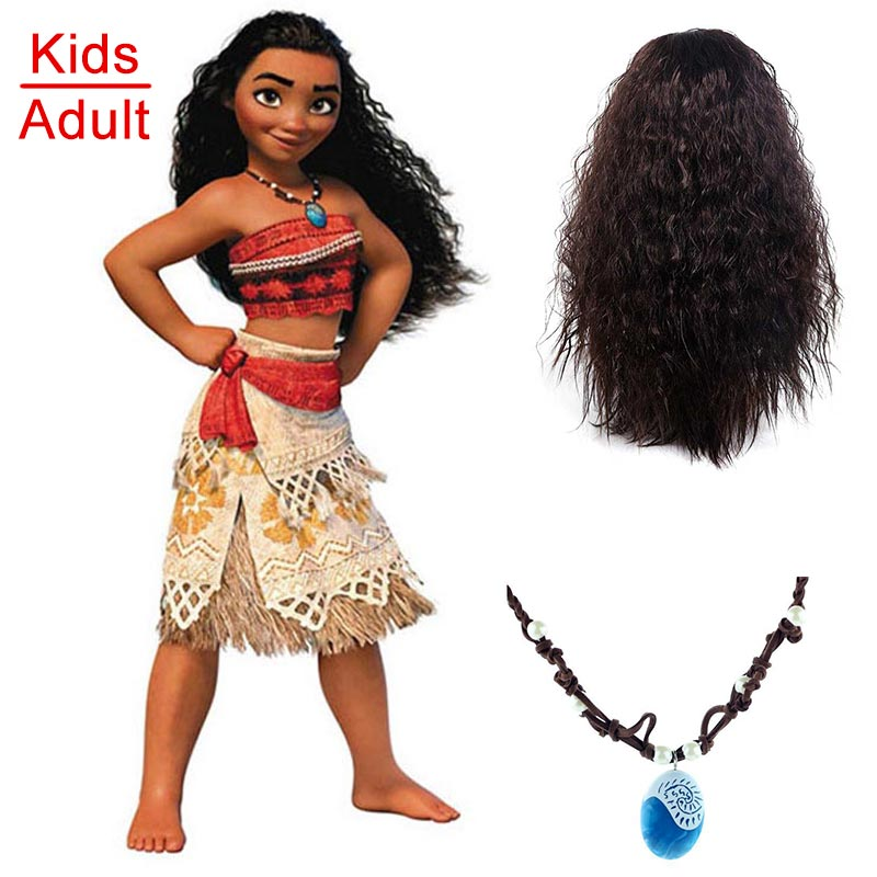 Vaiana Fantasia Moana Costume for Children Moana Necklace Wig Dress for Adult Women Halloween Costumes for Kids Girls Gift Party