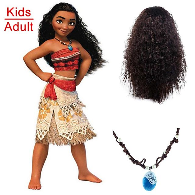 Barbie Halloween Costume Kids.Us 12 54 32 Off Aliexpress Com Buy Vaiana Fantasia Moana Costume For Children Moana Necklace Wig Dress For Adult Women Halloween Costumes For Kids