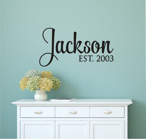 Personalized Family Name, Custom Last Name Vinyl Wall Lettering Art Words Wall Sticker Home Decor Wedding Decoration image