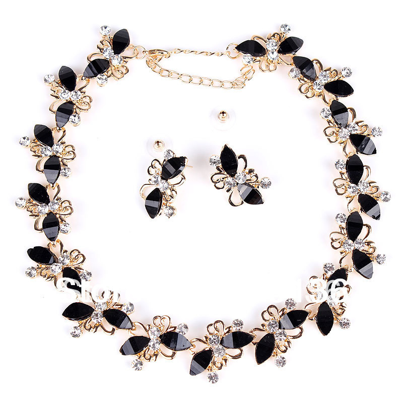 PN12336 Butterfly Jewelry Sets Gold Plate Black Resin Beads Chocker Collar Party Gifts Bridal Jewelry Woman