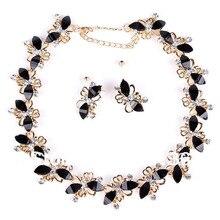 Joyería PN12336 mariposa juegos Plate oro negro granos de la resina Chocker regalos del partido del Collar de la joyería nupcial de la mujer pendiente del Collar