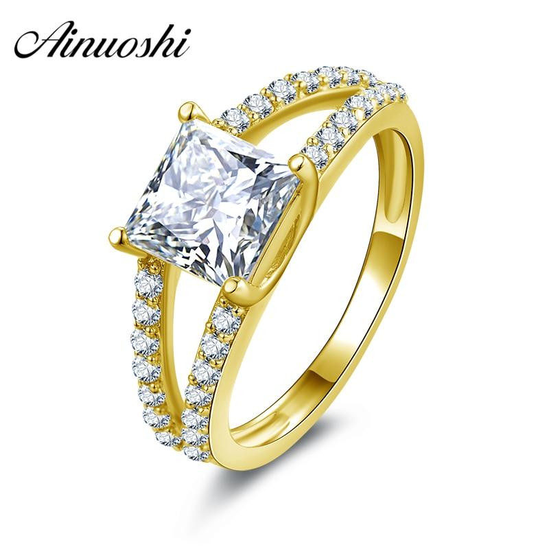 6197560beef57 AINUOSHI 10 كيلو الصلبة الذهب الأصفر خاتم الخطوبة 1.6 ct الأميرة قص مقلد  الماس Joyeria فينا النساء خاتم الزواج Cuestomized