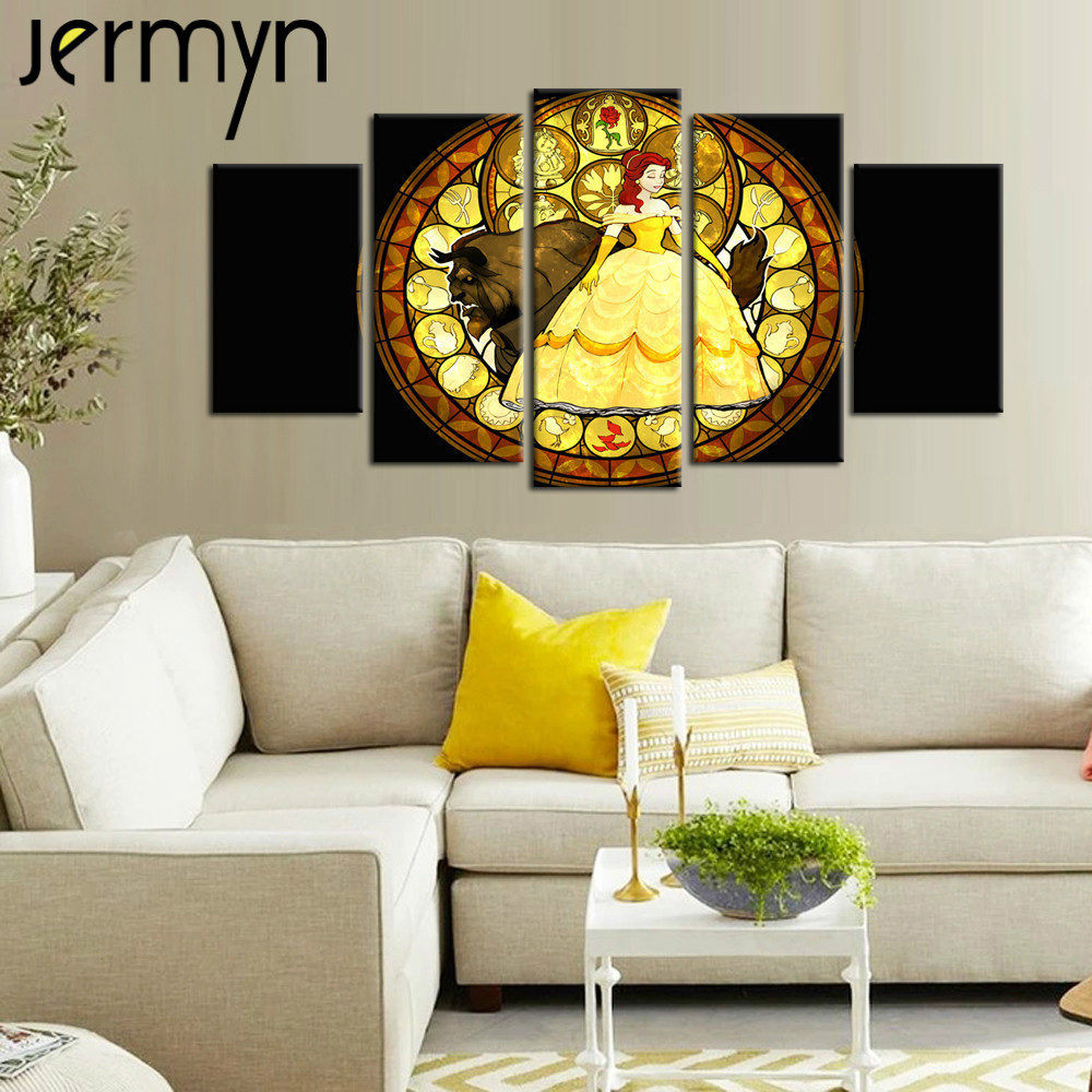JERMYN 5pcs Beauty and The Beast Wall Art Canvas Painting Unframed ...