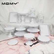Wholesale 12 Pcs Decoration Supply Wedding Crystal Metal Set Pink Display Vintage Cupcake Tool Pop Cake Stand