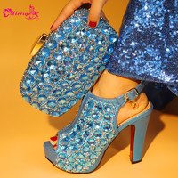 S.BLUE Shoes and Bag Set for Women African Matching Shoes and Bag Italian In Women Italian Shoes and Bag To Match Shoe with Bag